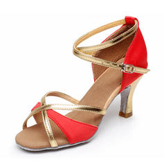 Women's Latin Heels Sandals Satin With Buckle Hollow-out Latin