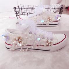 Femmes Toile Talon plat Bout fermé Chaussures plates avec Une fleur Cristal Pearl