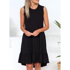 Solid Sleeveless Shift Knee Length Little Black/Casual Tank Dresses