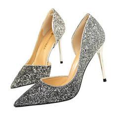 Kvinder Mousserende Glitter Stiletto Hæl sandaler Pumps Lukket Tå med Paillet sko