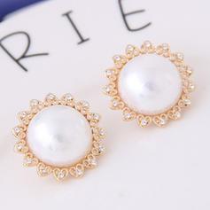 élégant Alliage Strass De faux pearl avec Perle d'imitation Strass Femmes Boucles d'oreille de mode (Lot de 2)