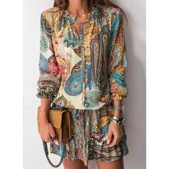 Print/Lace-up Long Sleeves Sheath Above Knee Boho Dresses