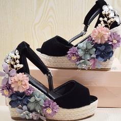 Femmes Suède Talon compensé Sandales Escarpins Plateforme Compensée À bout ouvert avec Strass Cristal Perle d'imitation Une fleur chaussures