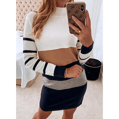 Color Block/Striped/Cable-knit Long Sleeves Shift Above Knee Casual Dresses
