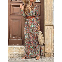 Print Long Sleeves Sheath Casual/Boho Maxi Dresses