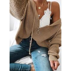 Solid Cable-knit Hooded Sweaters