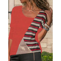 Color Block Striped V-neck Long Sleeves Casual Knit Blouses