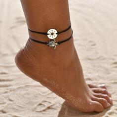 Simple Aleación Cuerda trenzada con Tortuga Moneda Joyas de playa Tobilleras (Juego de 2)