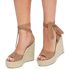Dla kobiet Tkanina Obcas Koturnowy Sandały Koturny Z Pozostałe obuwie