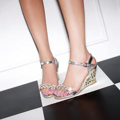 Women's PU Wedge Heel Sandals Pumps Wedges Peep Toe Slingbacks With Rhinestone shoes