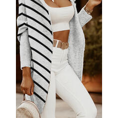 Striped Hooded Casual Long Cardigan