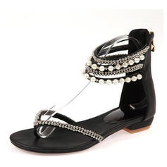 Women's PU Flat Heel Sandals Flats With Imitation Pearl shoes