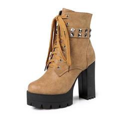 Femmes Similicuir Talon bottier Escarpins Plateforme Bottes Martin bottes avec Rivet Boucle Dentelle chaussures
