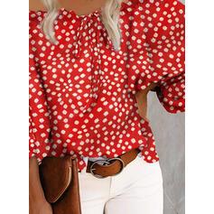 Tisk Odhalená ramena 3/4 rukávy raglan manece Casual Bluze
