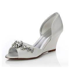 Frauen Satin Keil Absatz Peep Toe Sandalen Färbbare Schuhe mit Strass