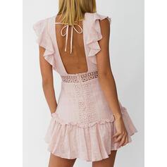 Renda/Sólido Sem mangas Bainha Acima do Joelho Sexy/Casual Vestidos