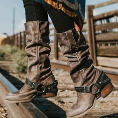 Női PU Alacsony sarok Csizma Mid-Calf Csizma -Val Csat cipő