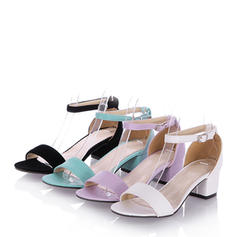 Women's Leatherette Chunky Heel Peep Toe Sandals With Buckle