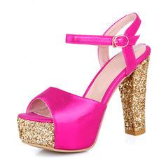 Femmes PU Talon bottier Sandales Escarpins Plateforme avec Boucle chaussures