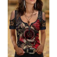 Print Floral Lace Cold Shoulder Short Sleeves Elegant Blouses