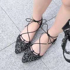 Femmes Pailletes scintillantes Talon plat Chaussures plates Bout fermé avec Dentelle chaussures