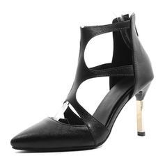 Femmes Similicuir Talon stiletto Escarpins Bout fermé avec Zip chaussures