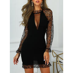 Lace/Sequins Long Sleeves Sheath Above Knee Little Black/Party Dresses
