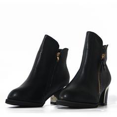 De mujer PU Tacón ancho Salón Botas con Cremallera zapatos