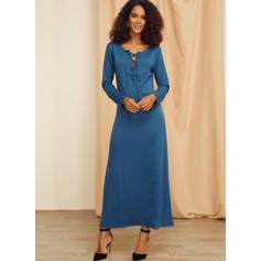 Solid Long Sleeves Sheath Maxi Casual/Elegant Dresses