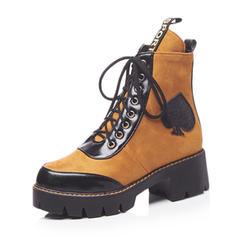 Dla kobiet Skóra ekologiczna Obcas Slupek Platforma Kozaki Z Sznurowanie obuwie