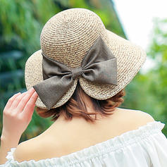 Ladies' Handmade/Hottest Raffia Straw/Polyester With Bowknot Straw Hats/Beach/Sun Hats