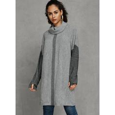 Bloque de Color Cuello De Tortuga Grandes Casuales Suéteres
