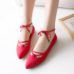 Femmes Suède Talon plat Chaussures plates Plateforme avec Dentelle chaussures