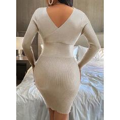 固体 Vネック カジュアル ロング タイト セータードレス