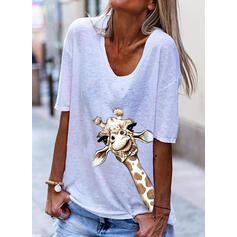 Animal Print V-Neck 1/2 Sleeves T-shirts