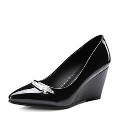Femmes PU Talon compensé Escarpins Bout fermé Compensée avec Strass chaussures