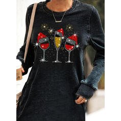 Sequins Long Sleeves Shift Above Knee Christmas/Casual Sweatshirt Dresses
