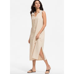 Solid Sleeveless Shift Casual Maxi Dresses