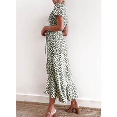 Print/Bloemen Korte Mouwen A-lijn Casual/Elegant Medium Jurken