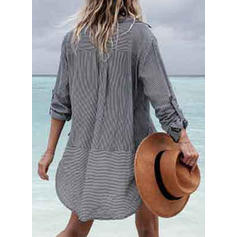 Stripe V-neck Bohemian Cover-ups Swimsuits
