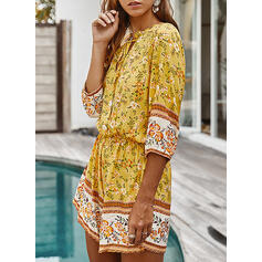 Floral Print V-Neck 3/4 Sleeves Casual Boho Vacation Romper