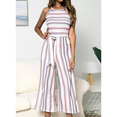 Striped Round Neck Sleeveless Casual Jumpsuit