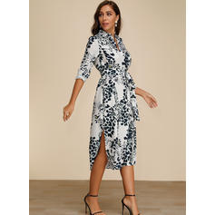 Animal Print Long Sleeves A-line Casual Midi Dresses
