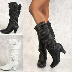Bayanlar suni deri PU Topuklu ayakkabı Pompalar Kapalı Toe bot ayakkabı Diz Çizmesi Ile Toka Ruffles ayakkabı