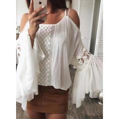 Solido Pizzo Spalle esposte Flare Sleeve Maniche lunghe Casuale Camicie