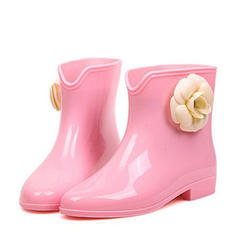 Women's PVC Low Heel Boots Mid-Calf Boots Rain Boots With Flower shoes