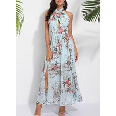 Nadrukowana/Kwiatowy Bez rękawów W kształcie litery A Casual Maxi Sukienki