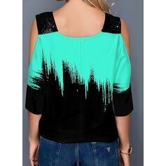Color block Pailletter Kold skulder 1/2 ærmer Casual Skjorter