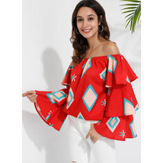 Print Off the Shoulder Flare Sleeve Casual Blouses