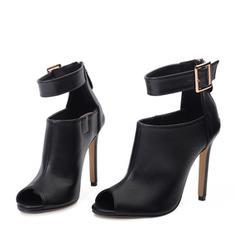 Mulheres PU Salto agulha Bombas Botas Bota no tornozelo com Fivela Zíper sapatos